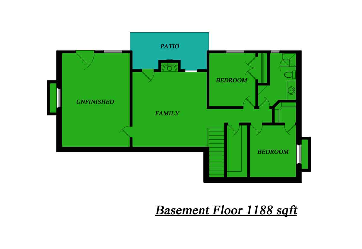 5 bedroom house 3 847 square feet etruscan house plans for Single floor house plans with basement